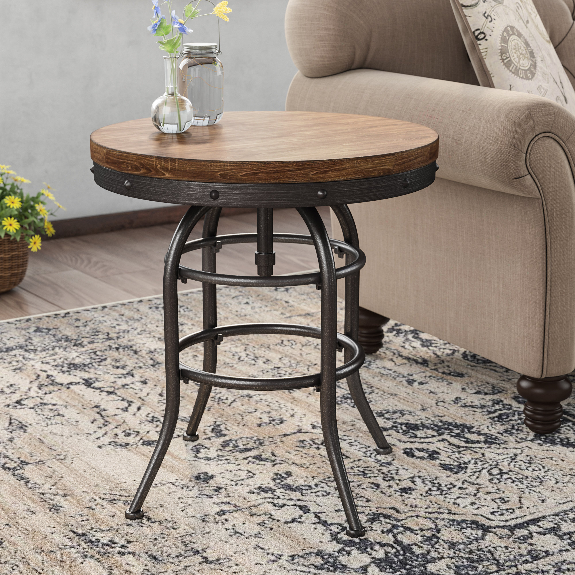 laurel foundry modern farmhouse likens end table reviews accent with barn door wooden and chairs nautical dining room chandelier white couch slipcovers black half moon interior