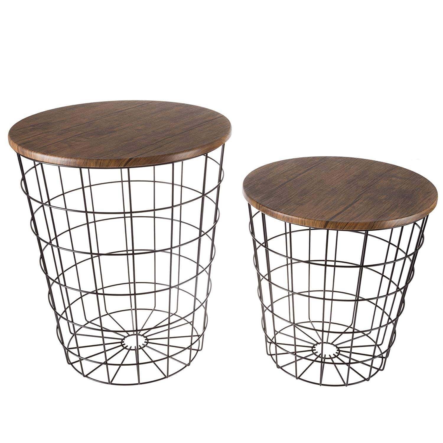 lavish home endtbl set nesting end storage black accent table with convertible round metal basket wood veneer top side tables kitchen colorful patio furniture dining room and