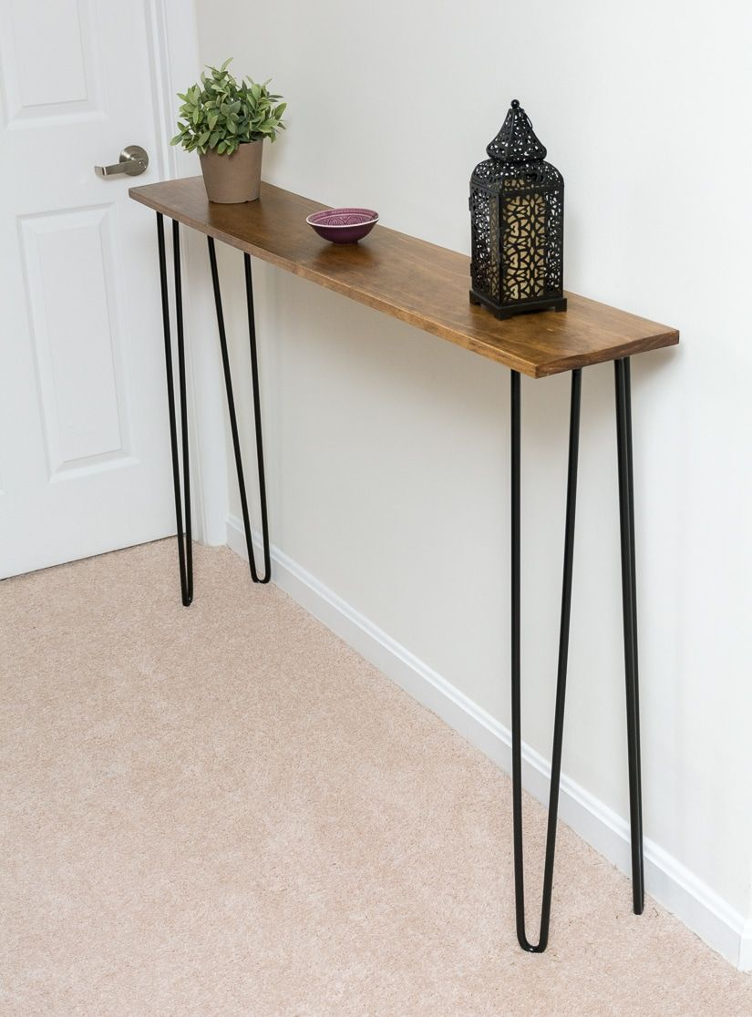leftover pine diy hairpin leg console table furniture room essentials accent walnut make target threshold windham cabinet thin tables modern silver lamp dining pedestal base only