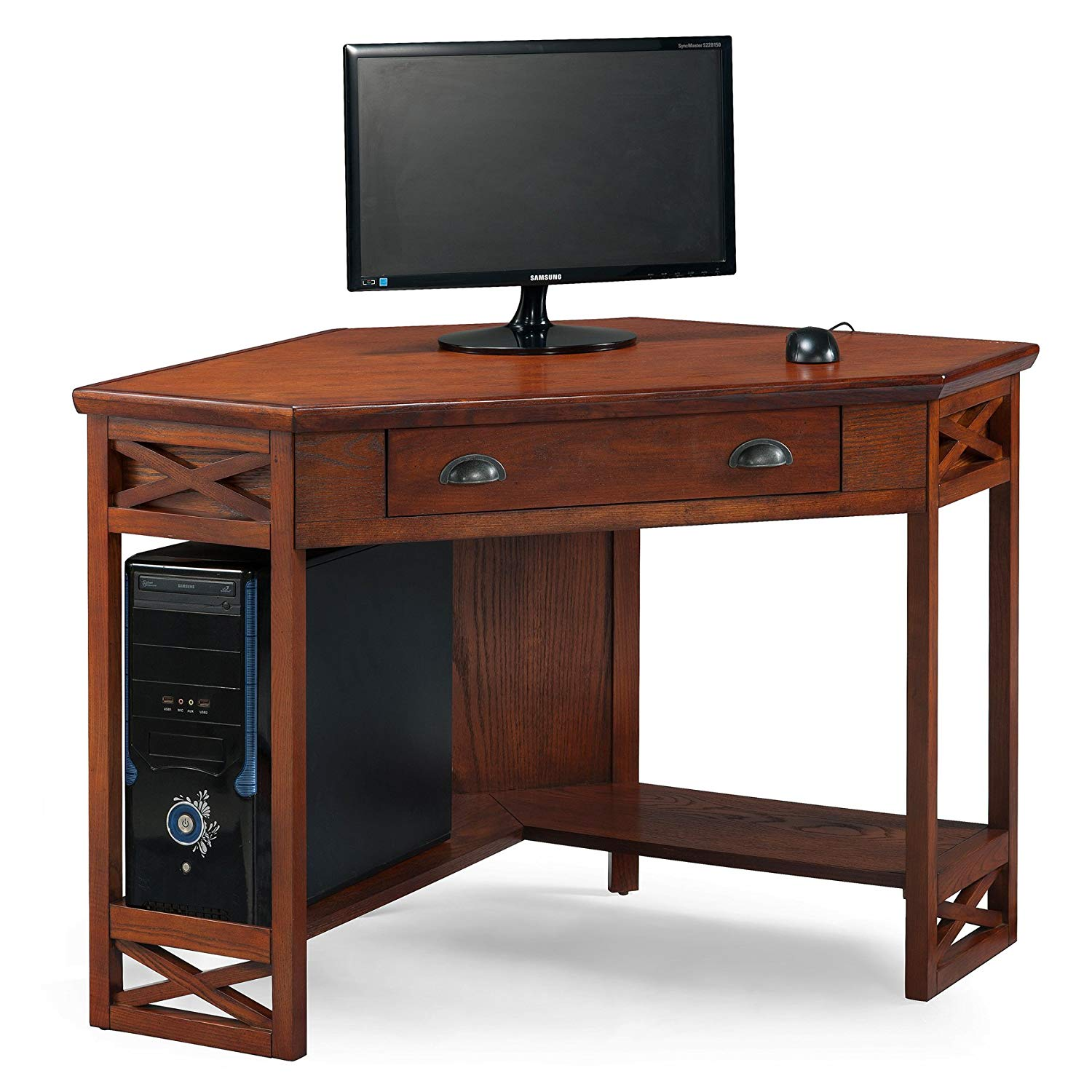 leick corner computer and writing desk oak finish accent table kitchen dining hampton bay posada sage green nautical lighting fixtures target changing large side kid runner high