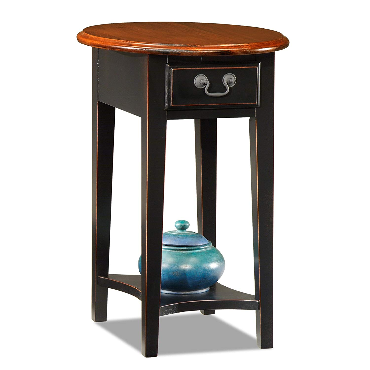leick oval end table slate black kitchen dining corner accent lucite furniture pottery barn display coffee contemporary room sets mini lamps hampton bay posada round drop leaf set