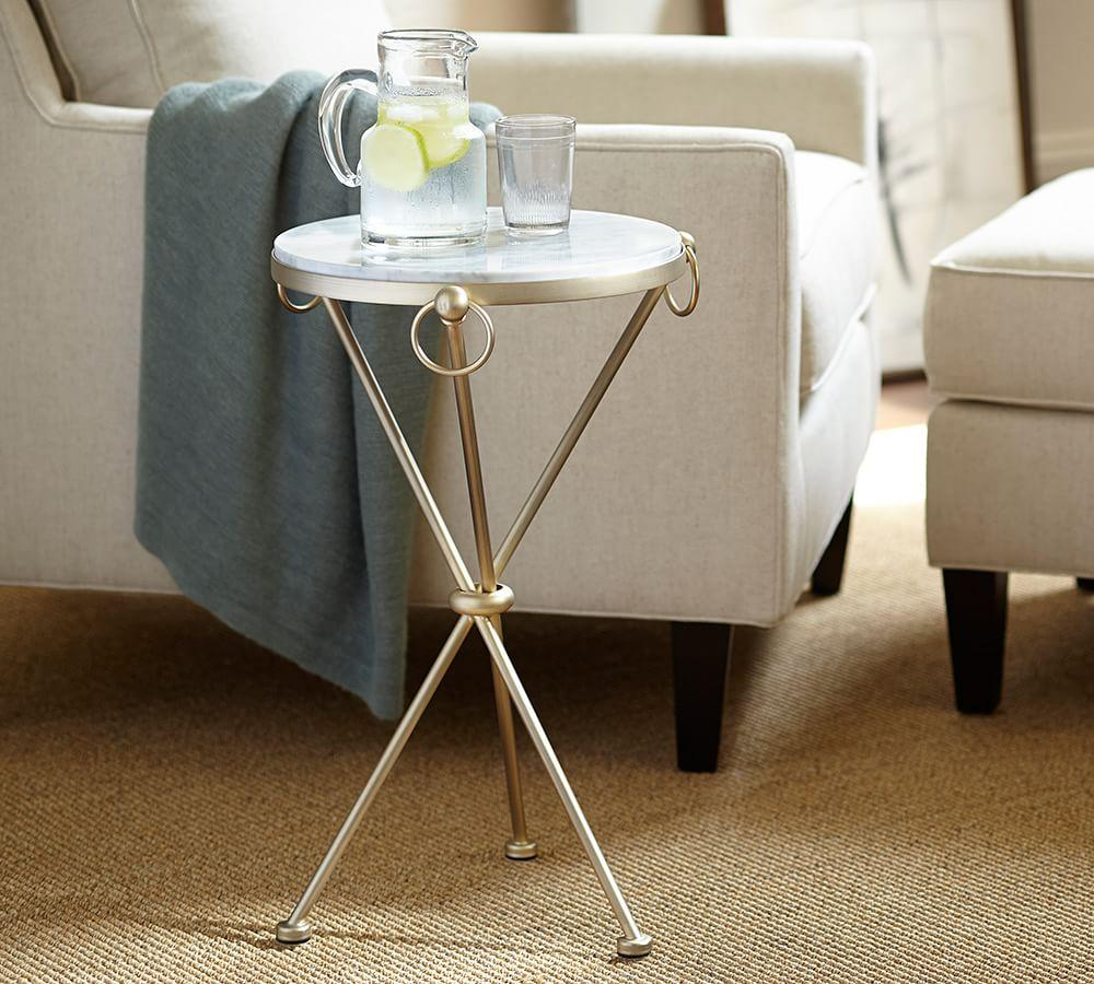 leila marble top side table pottery barn media flower accent small white round bedside battery powered lamp ashley furniture nesting tables linen company counter height extendable