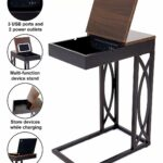 leisure space seetable stash with device stand accent table power charging station and storage dark brown frame walnut finish top end side high dining for oval tablecloth sizes 150x150
