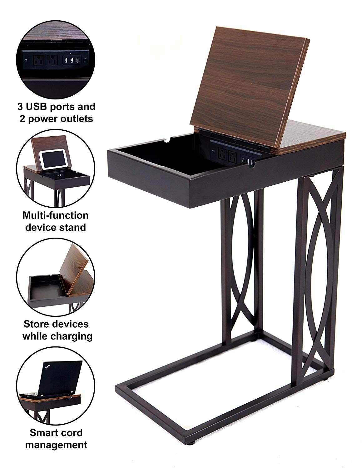 leisure space seetable stash with device stand accent table power charging station and storage dark brown frame walnut finish top end side high dining for oval tablecloth sizes
