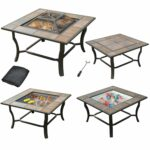 leisurelife square tile top fire pit grill side table outdoor cooler and coffee with cover garden runner for living room storage cabinets containers painted ideas multi drawer 150x150
