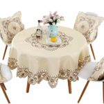 lelehome brown flower embroidered lace dark white cream round accent tablecloth for tables multi sizes available kitchen dining small porch table bedroom side drawers nautical 150x150