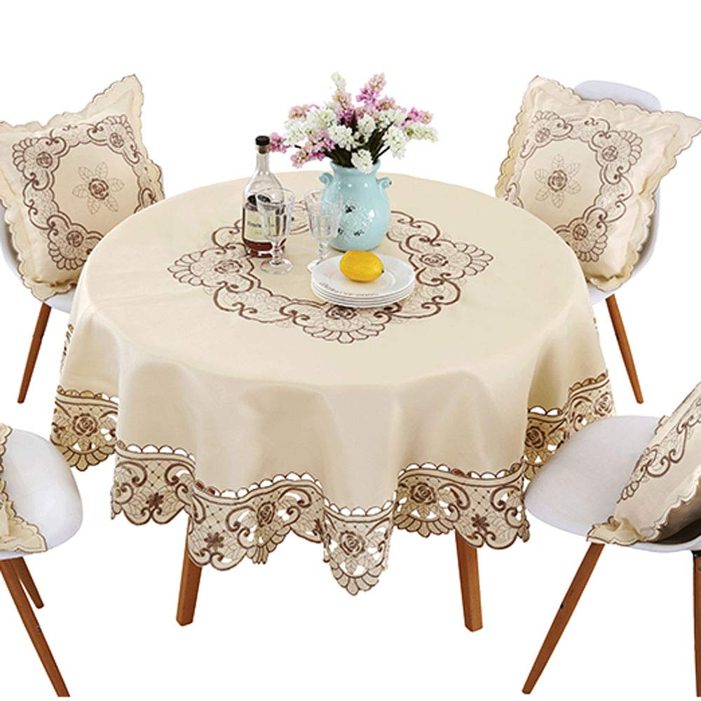 lelehome brown flower embroidered lace dark white cream round accent tablecloth for tables multi sizes available kitchen dining small porch table bedroom side drawers nautical