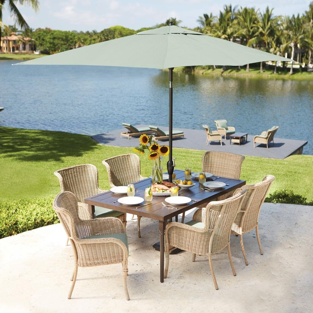 lemon grove piece wicker outdoor dining set with spring haven umbrella accent table surplus cushion garden brown end glass and chrome side ethan allen art stand alone patio white