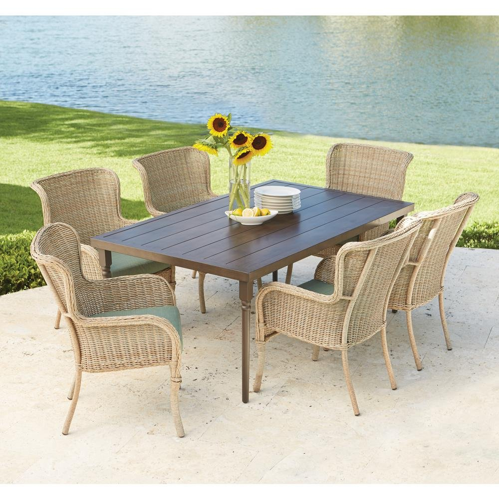 lemon grove piece wicker outdoor dining set with spring haven umbrella accent table surplus cushion garden inexpensive lamps sei mirage mirrored brass drum supplies and glass nest