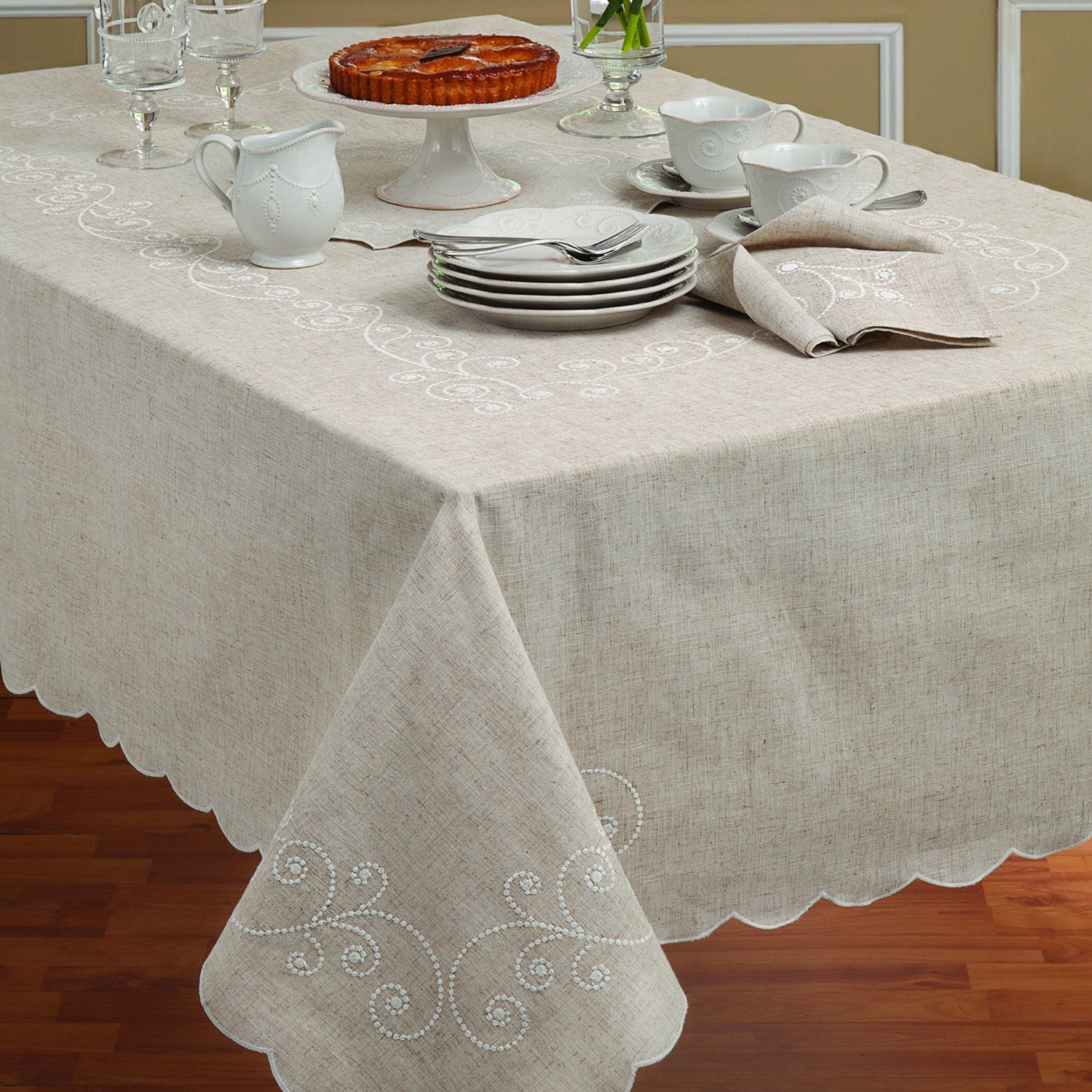 lenox french perle embroidered linen blend tablecloth small round tablecloths for accent tables free shipping orders over beech coffee table green marble top teal kitchen accents