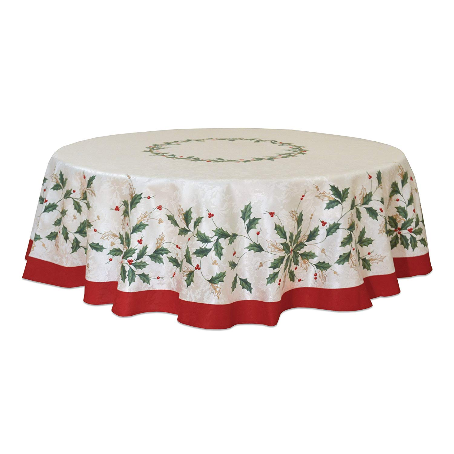 lenox golden holly inch round tablecloth home kitchen accent pier one imports table and chairs farmhouse door modern furniture distressed wood coffee southern enterprises mirage
