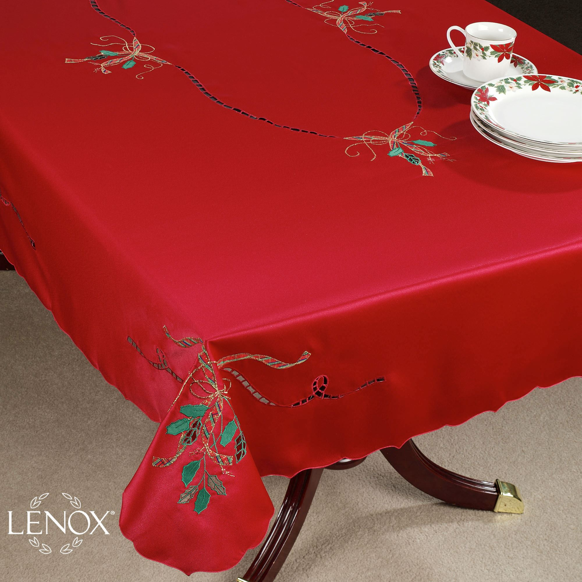 lenox holiday nouveau cutwork table linens accent cloth covers tablecloth storage target ott tray laundry basket flannel backed vinyl oil rubbed bronze side trestle chairs antique