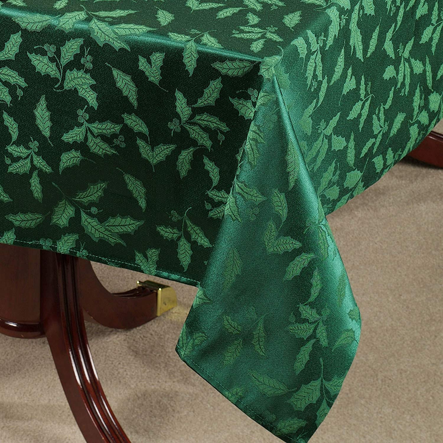 lenox holly damask christmas tablecloth oblong round accent green home kitchen distressed wood coffee table holiday runner bedroom side drawers junior drum stool purple furniture