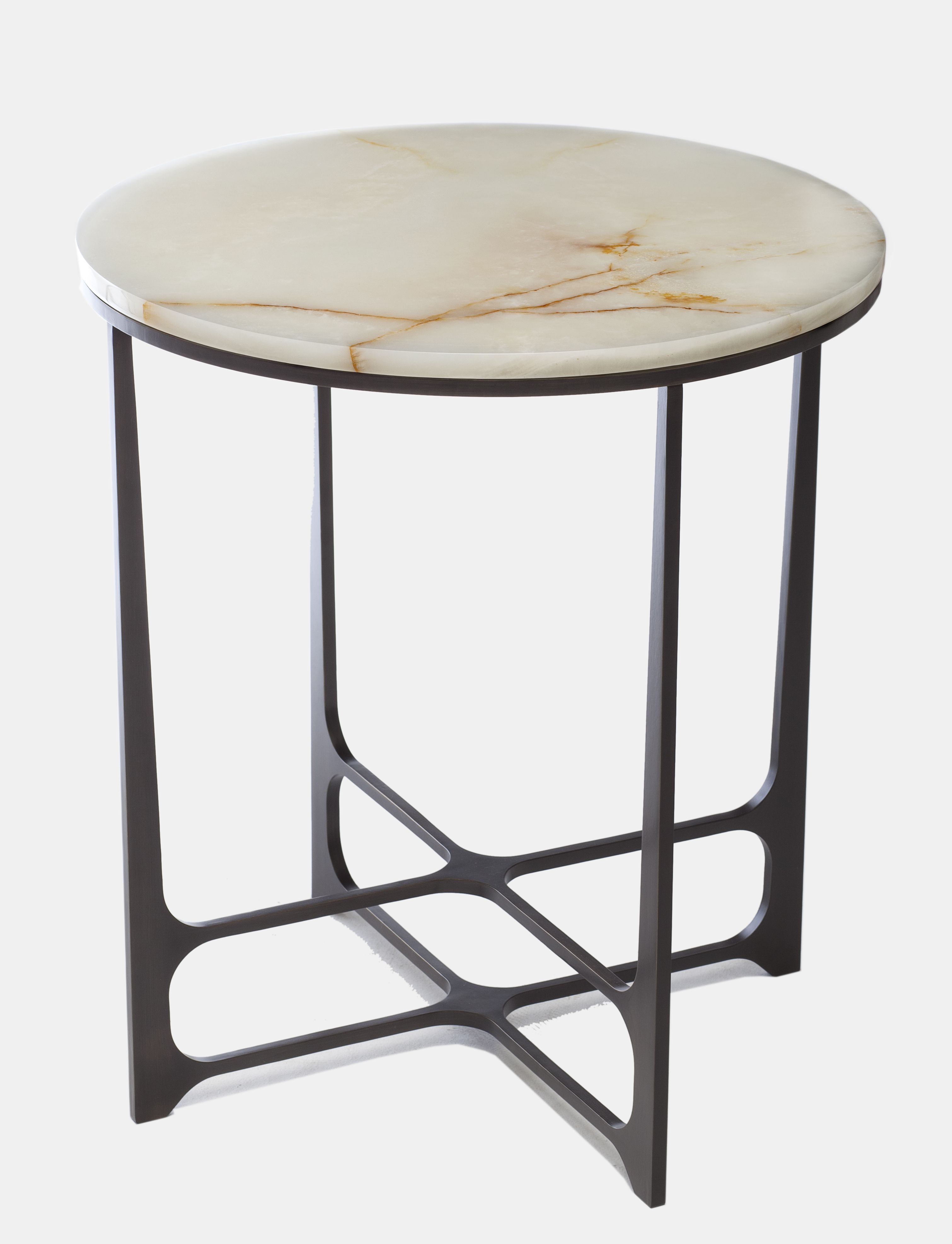 leonid low side table bronze copper brass marble onyx top round accent christopher hall kids lighting hardwood tile tables with charging station ikea wall storage black metal