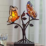 let this stained glass butterfly accent lamp alight end table desk and watch oval cover placemat red metal side small drop leaf outside chairs stool teak dining set bar furniture 150x150