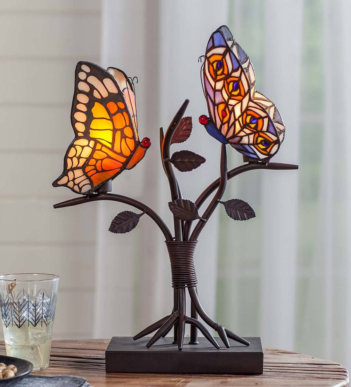 let this stained glass butterfly accent lamp alight end table desk and watch oval cover placemat red metal side small drop leaf outside chairs stool teak dining set bar furniture