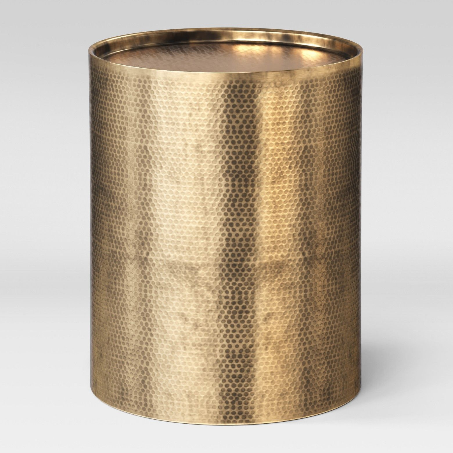 let your unique style shine when you the granby cylinder drum accent table threshold from project space metal finish and hammered texture this round pier rugs clearance perspex