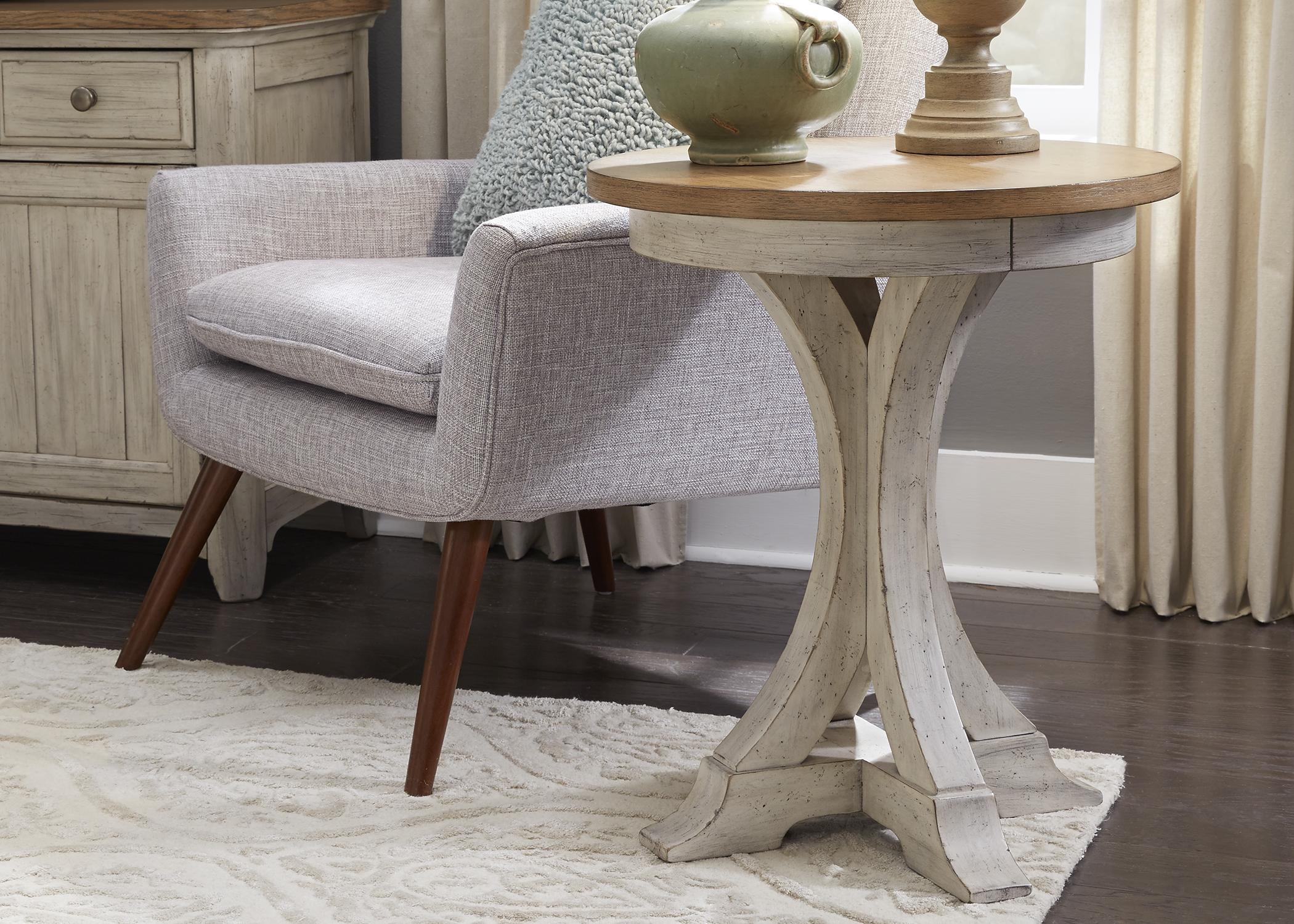 liberty farmhouse reimagined antique white round chair side table coffee and end sets shattered glass grey accent ashley laflorn small lamp study furniture floating bedside ikea
