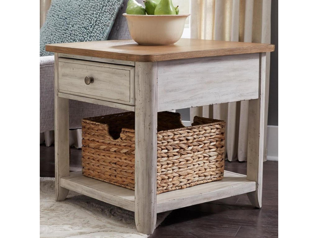 liberty furniture farmhouse reimagined relaxed vintage products color accent tables with charging station drawer end table basket hudson long nightstand top french bedside pub bar