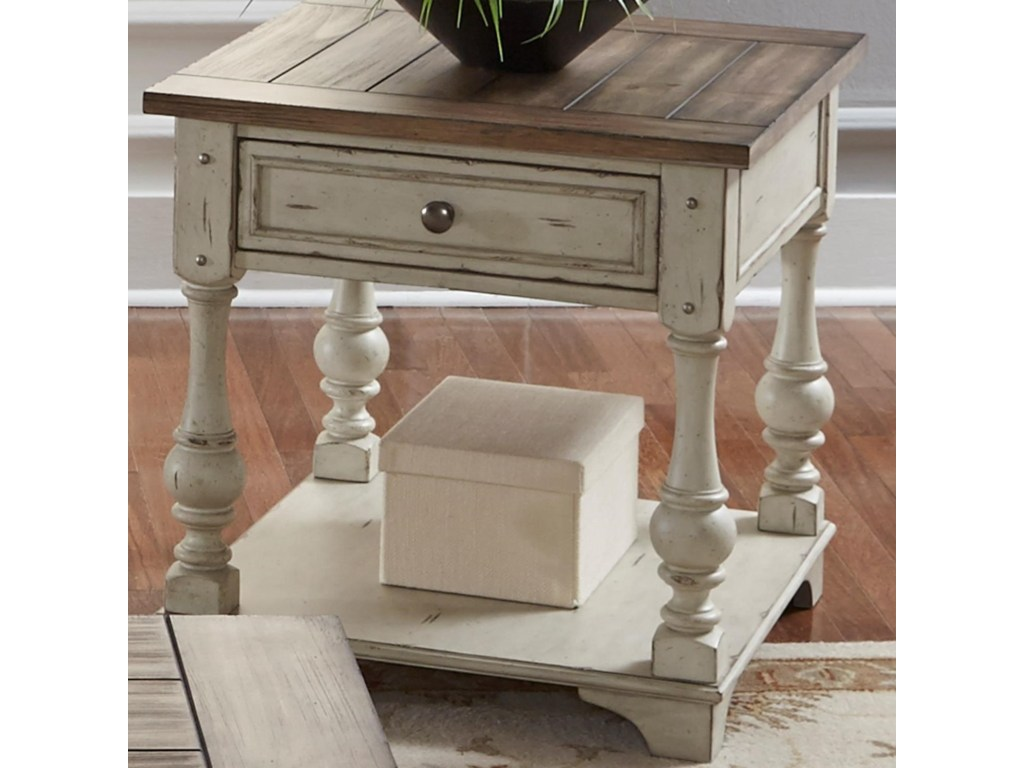 liberty furniture morgan creek relaxed vintage end table with bottom products color round accent storage shelf rod iron patio marble dining room console large white tablecloths