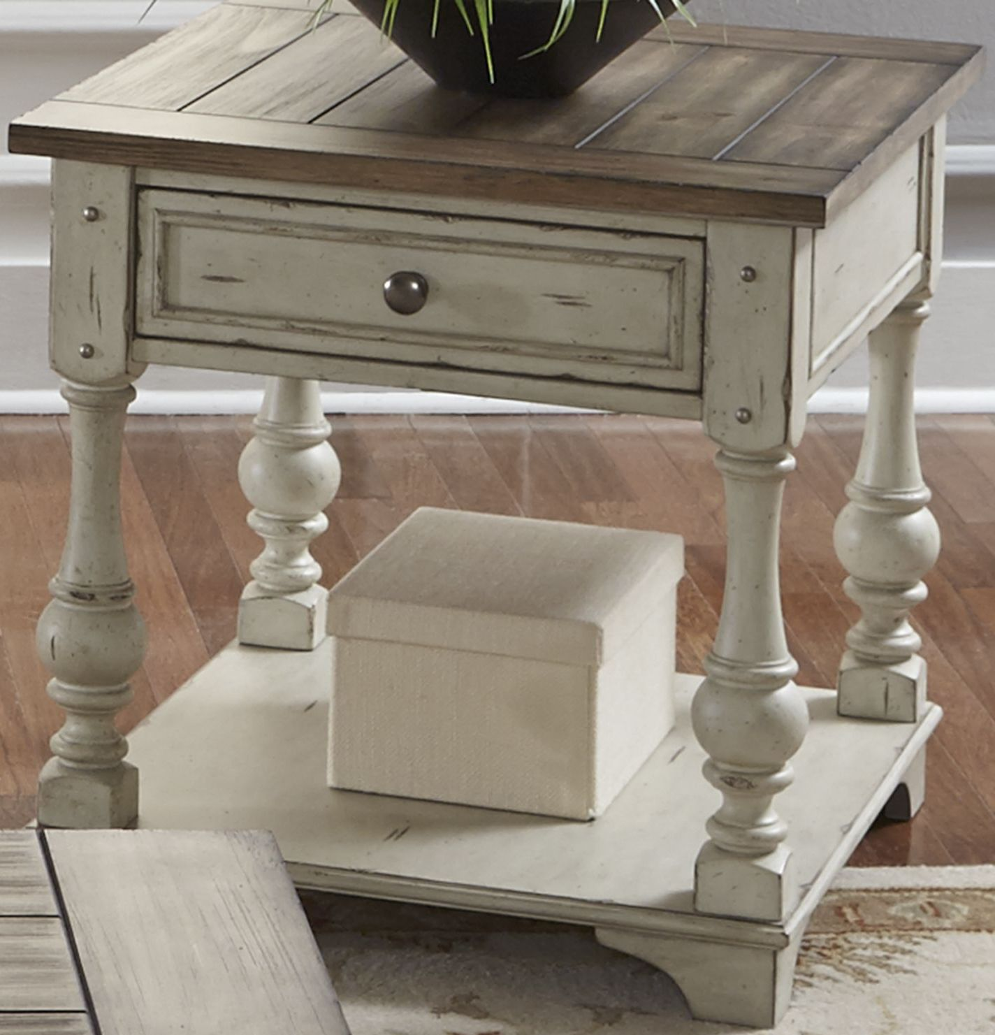 liberty morgan creek antique white accent end table tables with drawers inch square coffee black metal glass vintage retro furniture ceramic side target folding dinner rustic wood