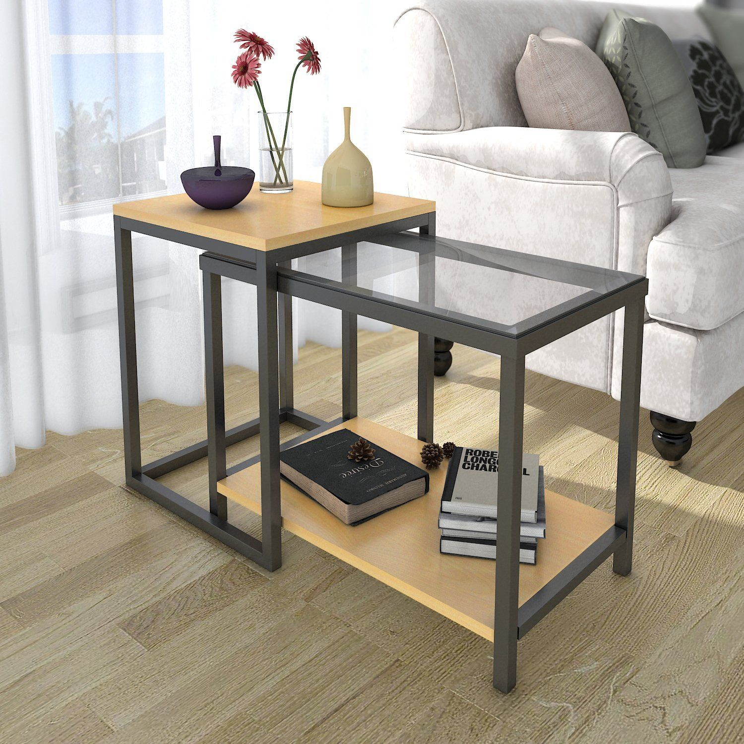 lifewit piece end table nesting sofa side set coffee and accent sets home kitchen small desk with drawers high patio rattan furniture bronze glass clear lamp hairpin leg silver