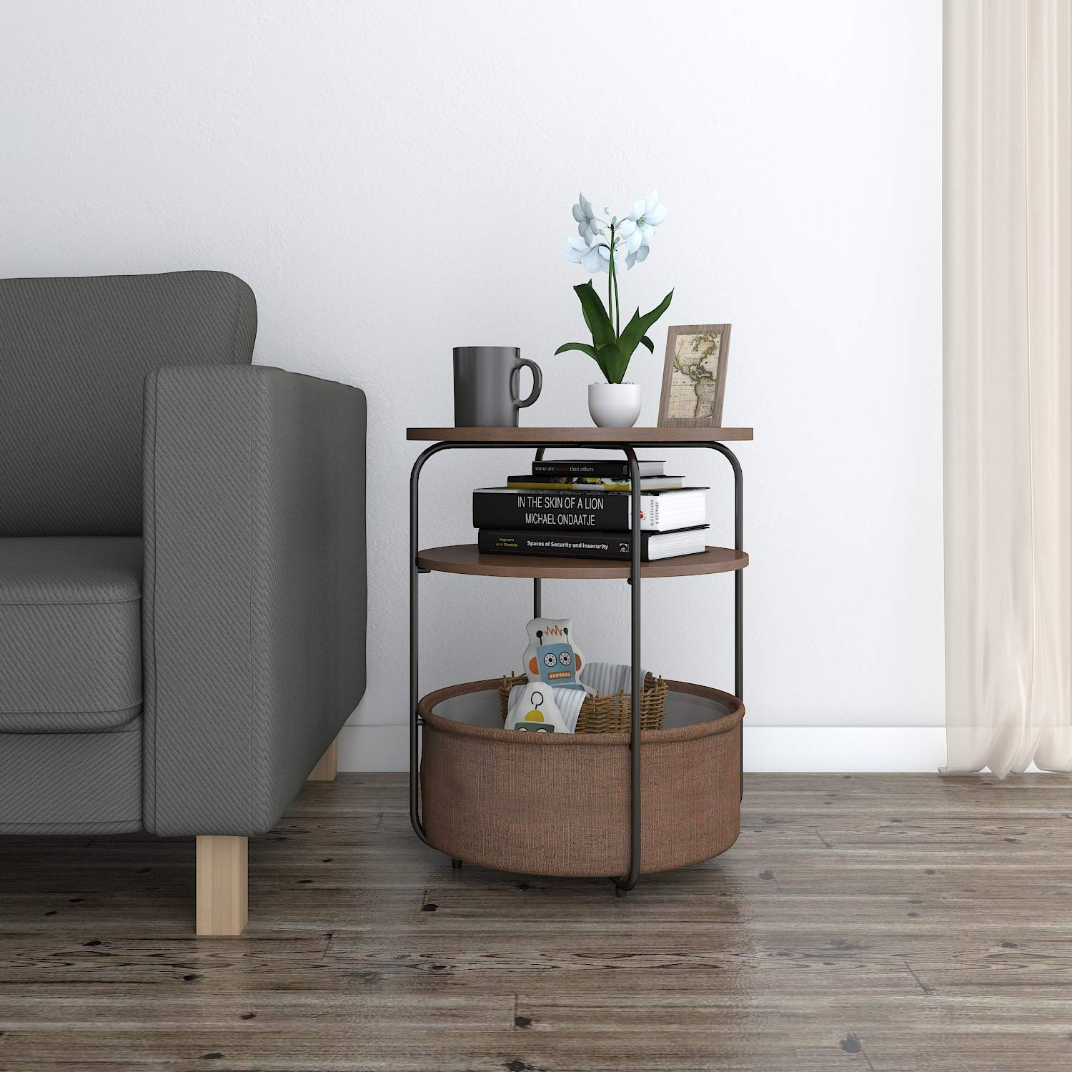 lifewit small tier round side table end cpdl accent with baskets nightstand fabric storage basket for condo apartment living modern collection copy furniture pier one catalog