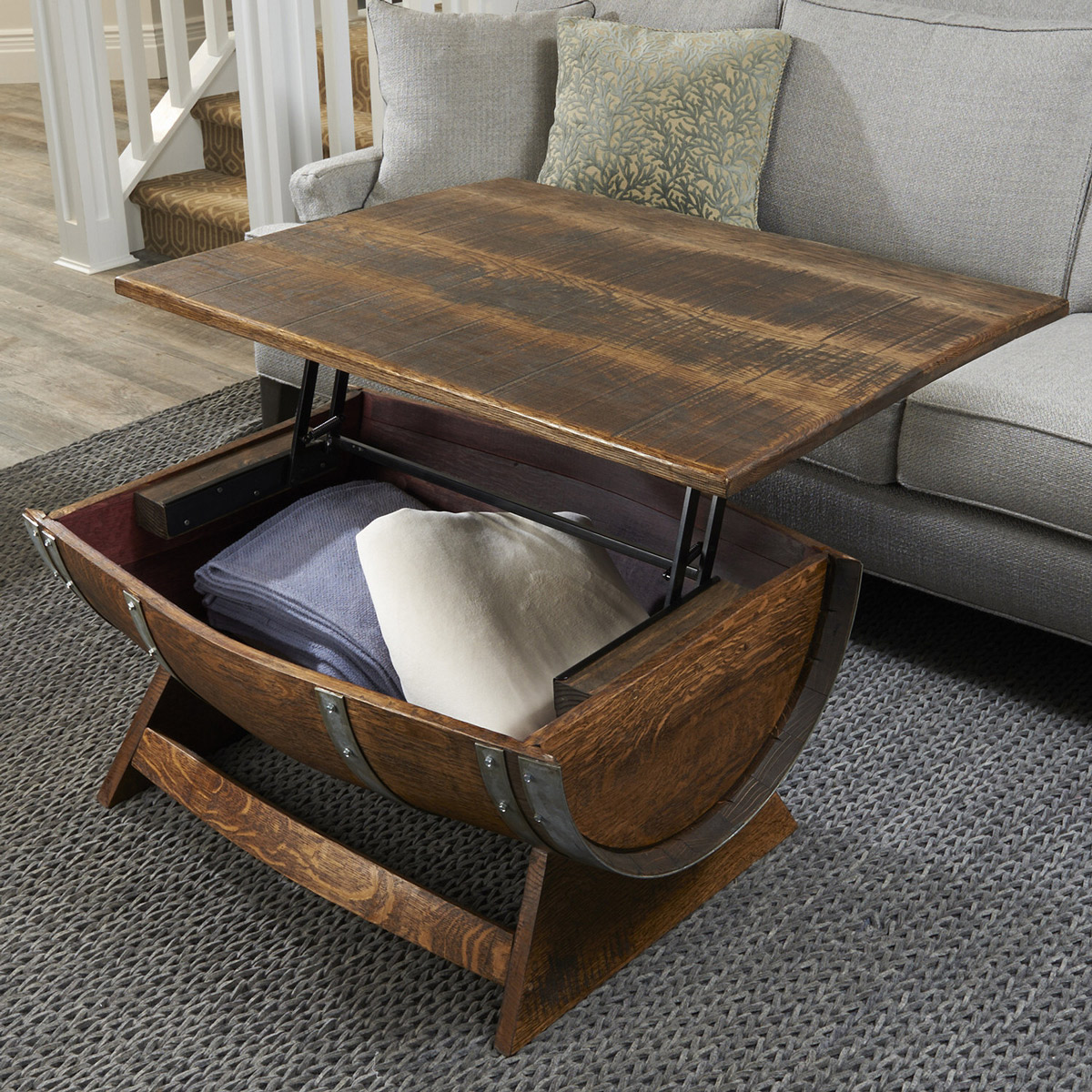 lift top reclaimed wine barrel coffee table accent device charging end dark cherry side drawer cabinet raton furniture square farmhouse black glass hawthorne industrial style tall
