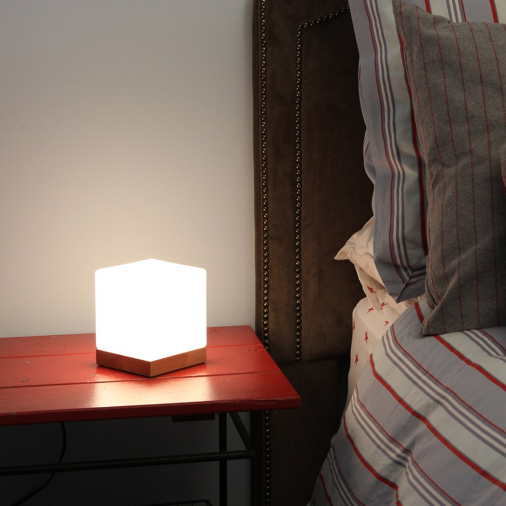 light accents small table lamp cube accent glass shade with nat tiny lamps natural wooden base shabby chic sofa plastic night stands edmonton hoffman furniture column pedestal