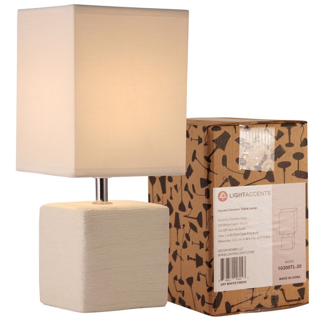 light accents table lamp side with square fabric shade edited off white accent finish lightaccents transitional furniture sofa and chair sets floral tablecloth under cabinet