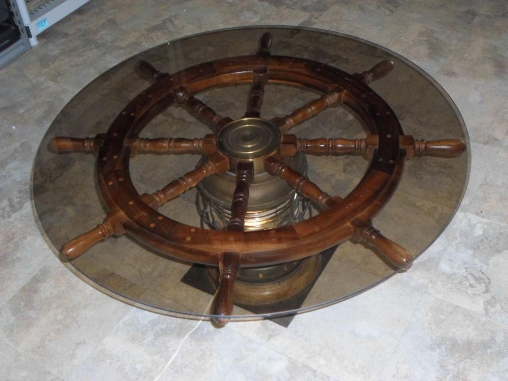 lighted ships helms wheel nautical coffee accent table wood brass glass dining room light fixture inch wide nightstand antique lamps ott legs slim side baroque plus tables low
