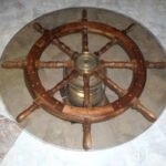 lighted ships helms wheel nautical coffee accent table wood brass glass geometric side inch wide nightstand telephone ikea round white wicker runner rugs extra floor threshold 150x150