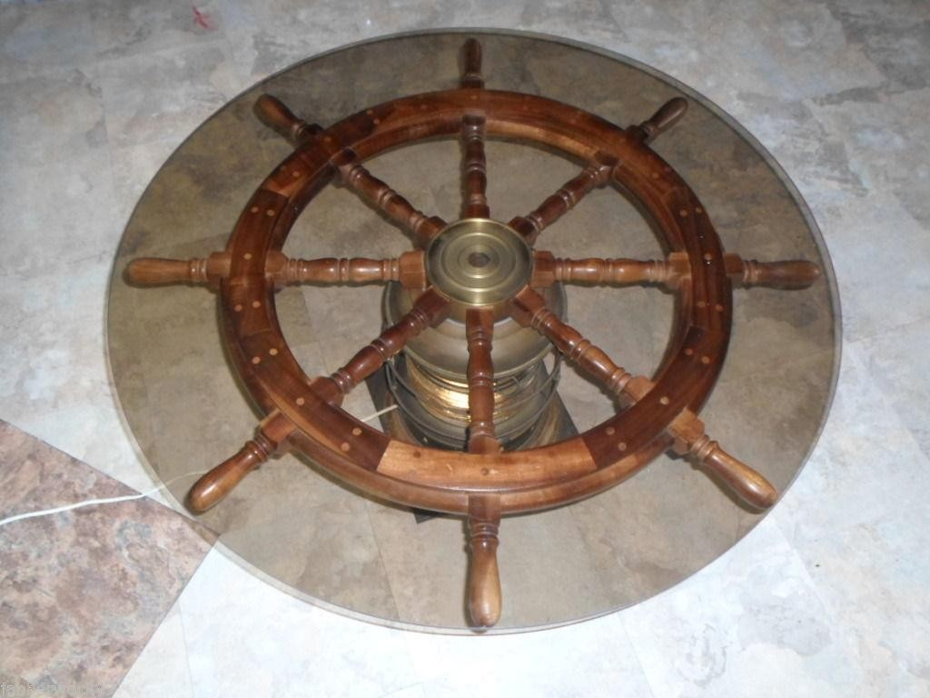 lighted ships helms wheel nautical coffee accent table wood brass glass geometric side inch wide nightstand telephone ikea round white wicker runner rugs extra floor threshold