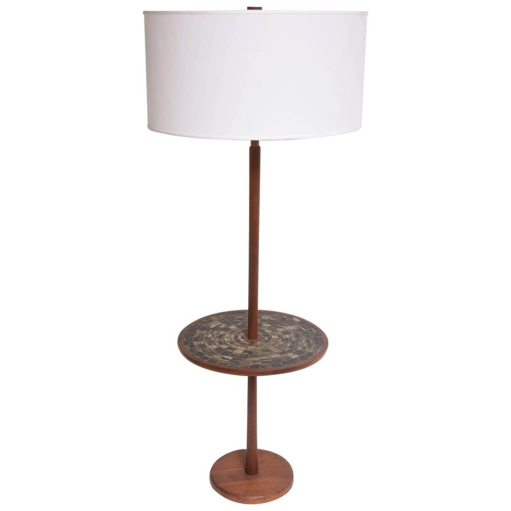 lighting astounding floor lamp with wood table and base featuring rustic country design round white drum shade for living room accent ideas glass pottery barn mercury concrete pub