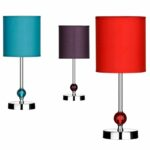 lighting colorful accent cylinder bedside table lamp with chromed base purple lamps contemporary metal dining room chairs lucite sofa small leather for spaces white gloss console 150x150