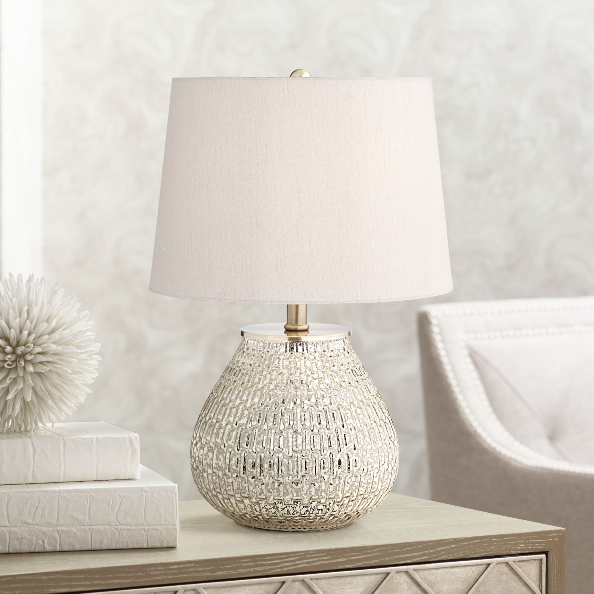 lighting cottage accent table lamp high mercury glass drum teardrop gray shade for bedroom bedside nightstand office end with door antique round dining clear lucite room furniture