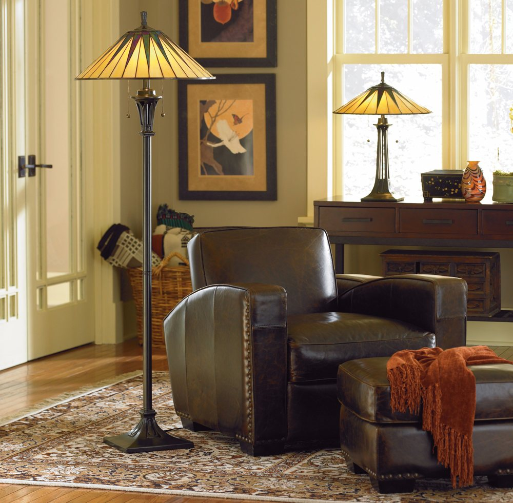 lighting ideas inserting the pretty accent house antiuqe tiffany style floor lamps nea dark brown leather sofa facing small ott and orange cloth floral patterned fur rug also