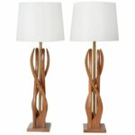 lighting magnificent wood sculpture contemporary table lamp design with white drum shade for modern living room tables buffet lamps accent tablette prix blue mosaic garden 150x150