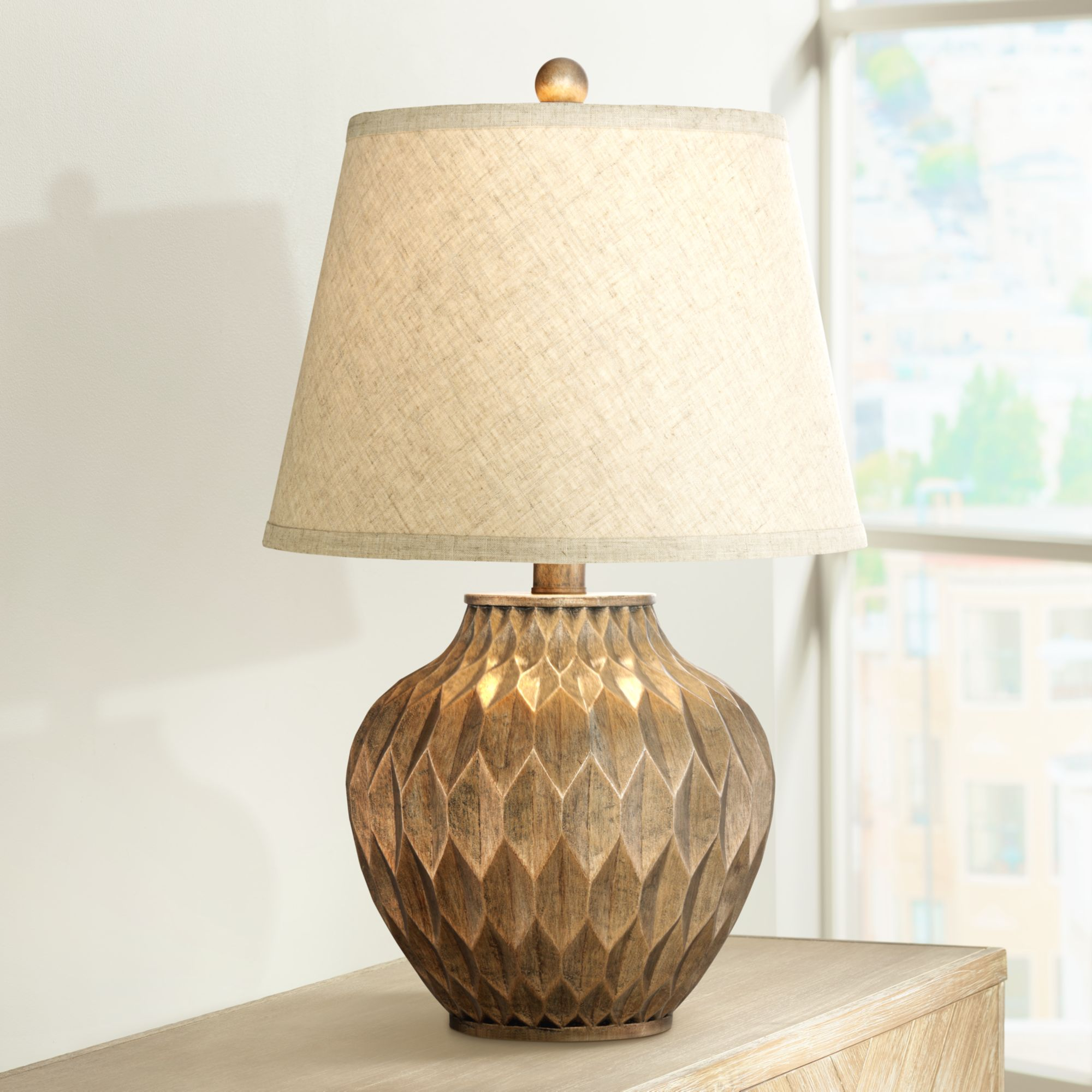 lighting modern accent table lamp warm bronze geometric urn tapered drum shade for living room family bedroom bedside office dining ornaments elm flooring pottery barn bench led