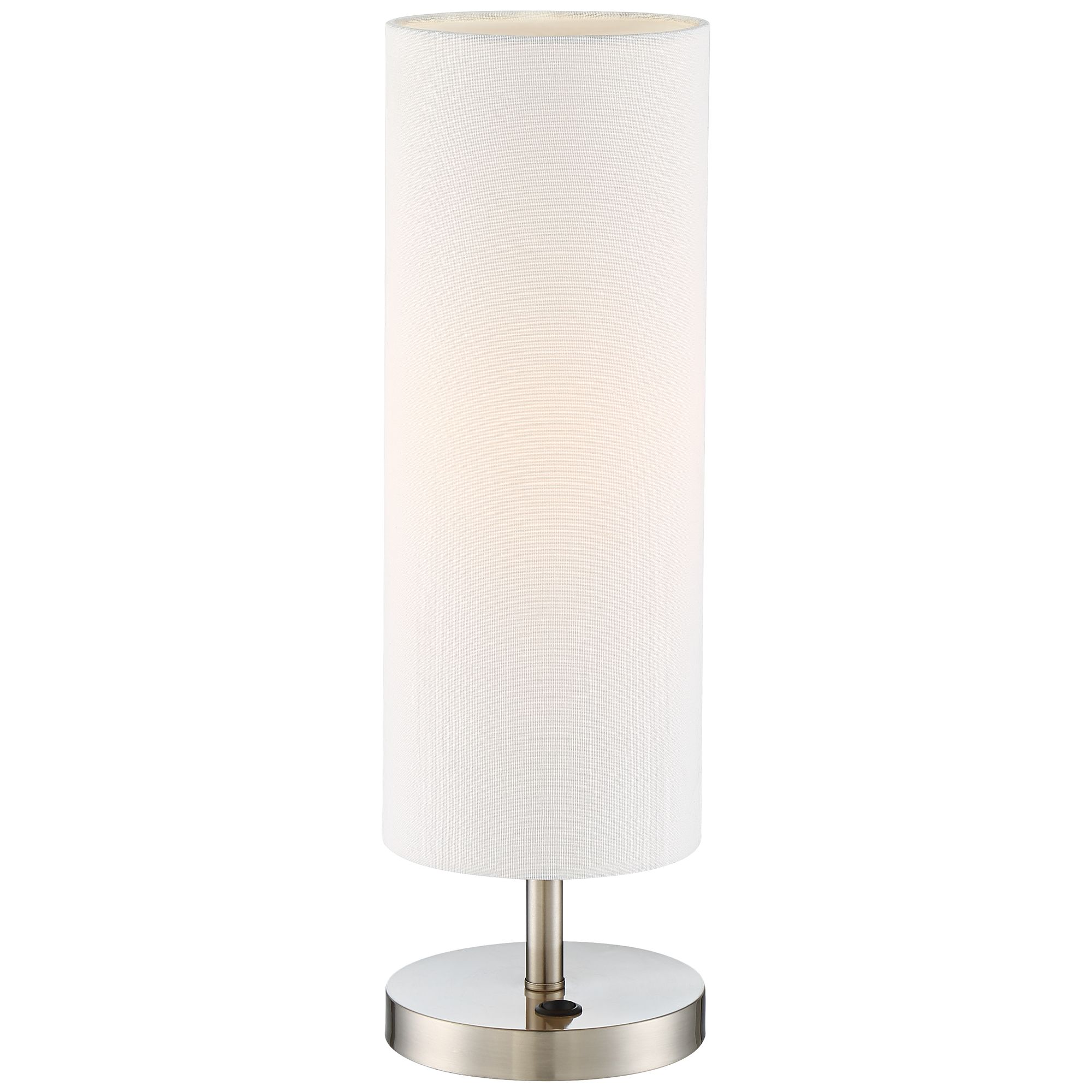 lighting modern accent table lamp with usb and power heyburn brushed steel port base off white cylinder shade for living room coffee end tables dark grey round marble top style