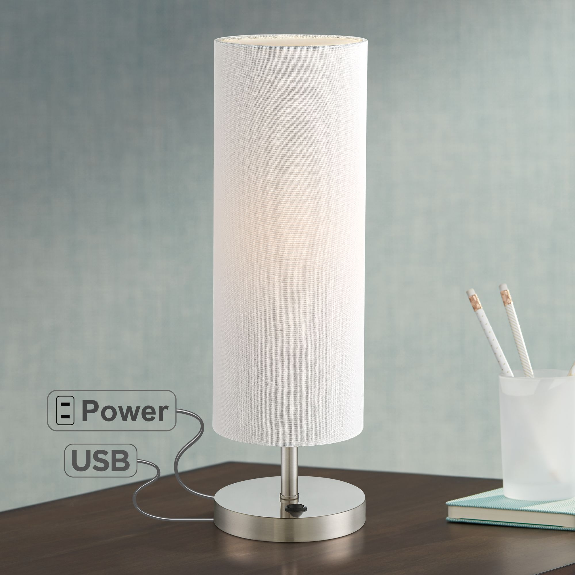 lighting modern accent table lamp with usb and power heyburn brushed steel port base off white cylinder shade for living room west elm square dining formal sets pier one imports