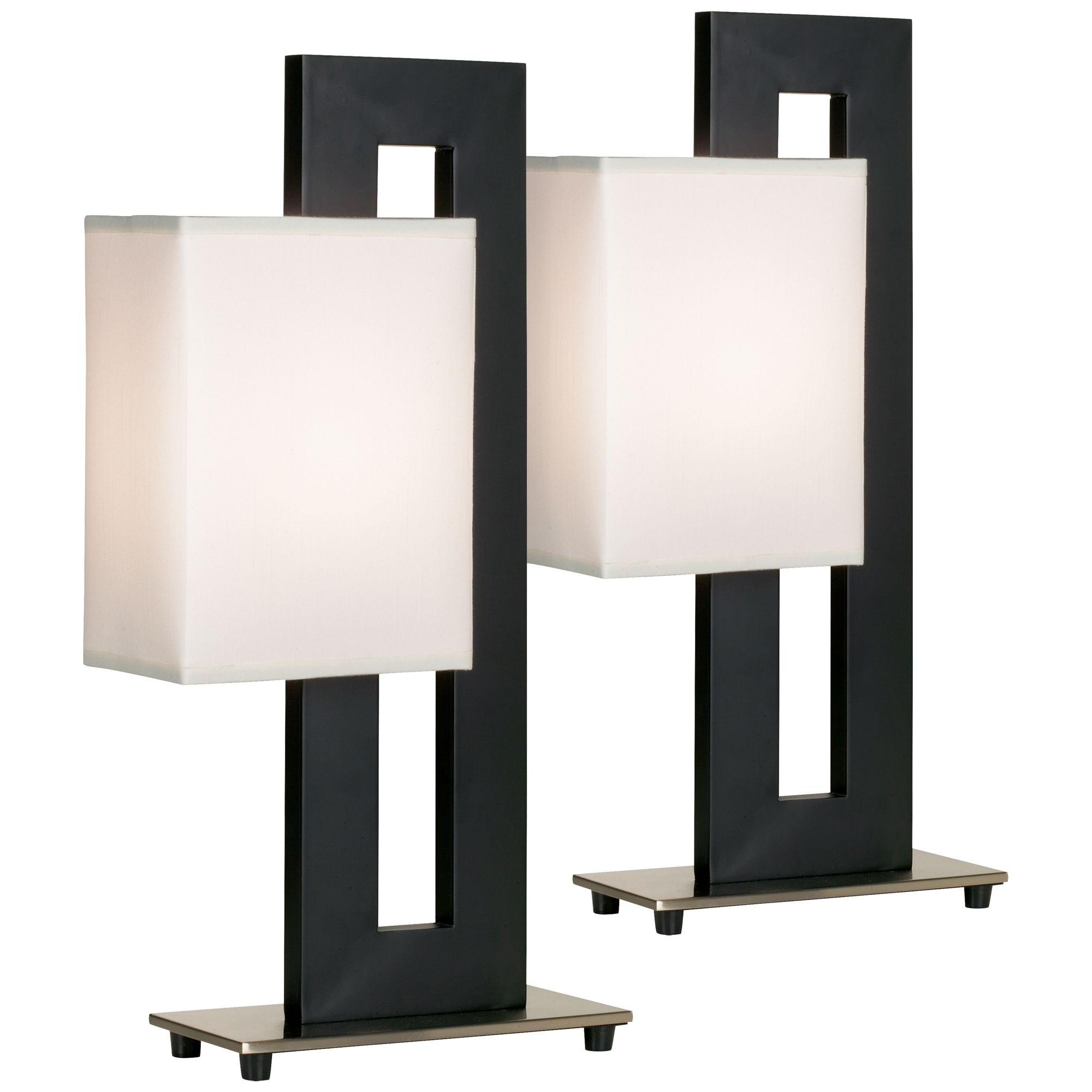 lighting modern accent table lamps set black floating square white rectangular shade for living room family bedroom glass and brass oval coffee thin cabinet media console small