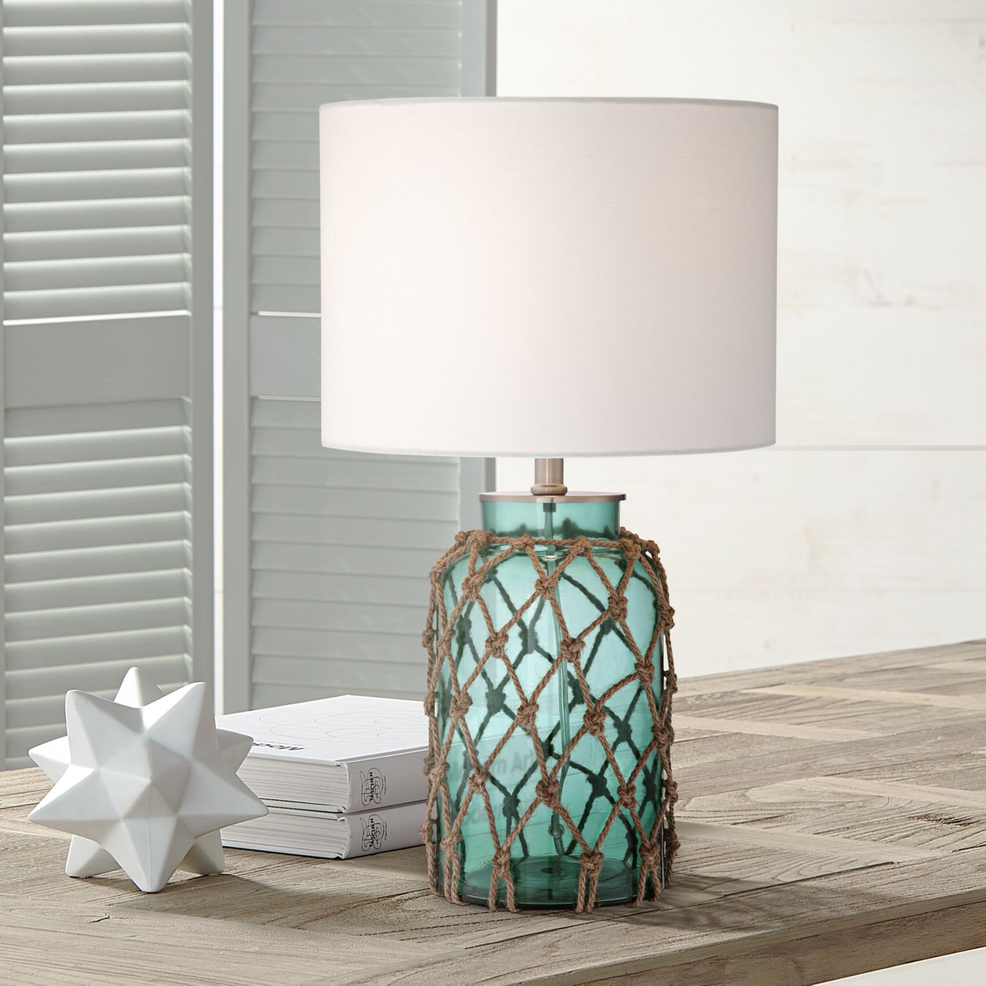 lighting nautical accent table lamp coastal blue green glass rope off white drum shade for living room family bedroom light pink chandelier holiday placemats and napkins outdoor