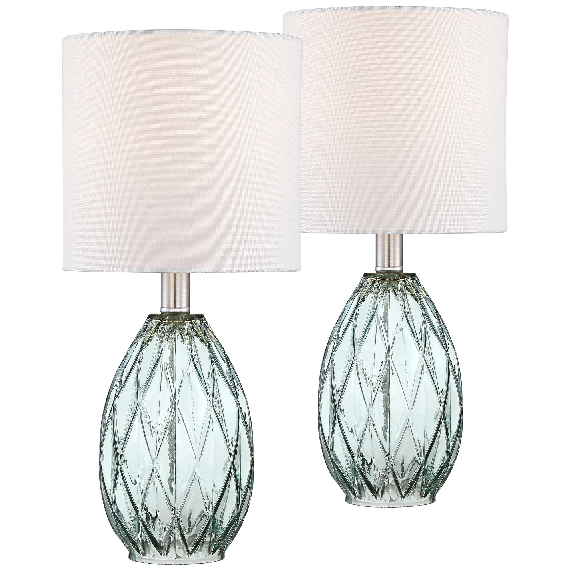 lighting rita blue green glass accent table lamp set lamps departments long bar and chairs homebase outdoor furniture person farm small retro side tall white bedside half moon