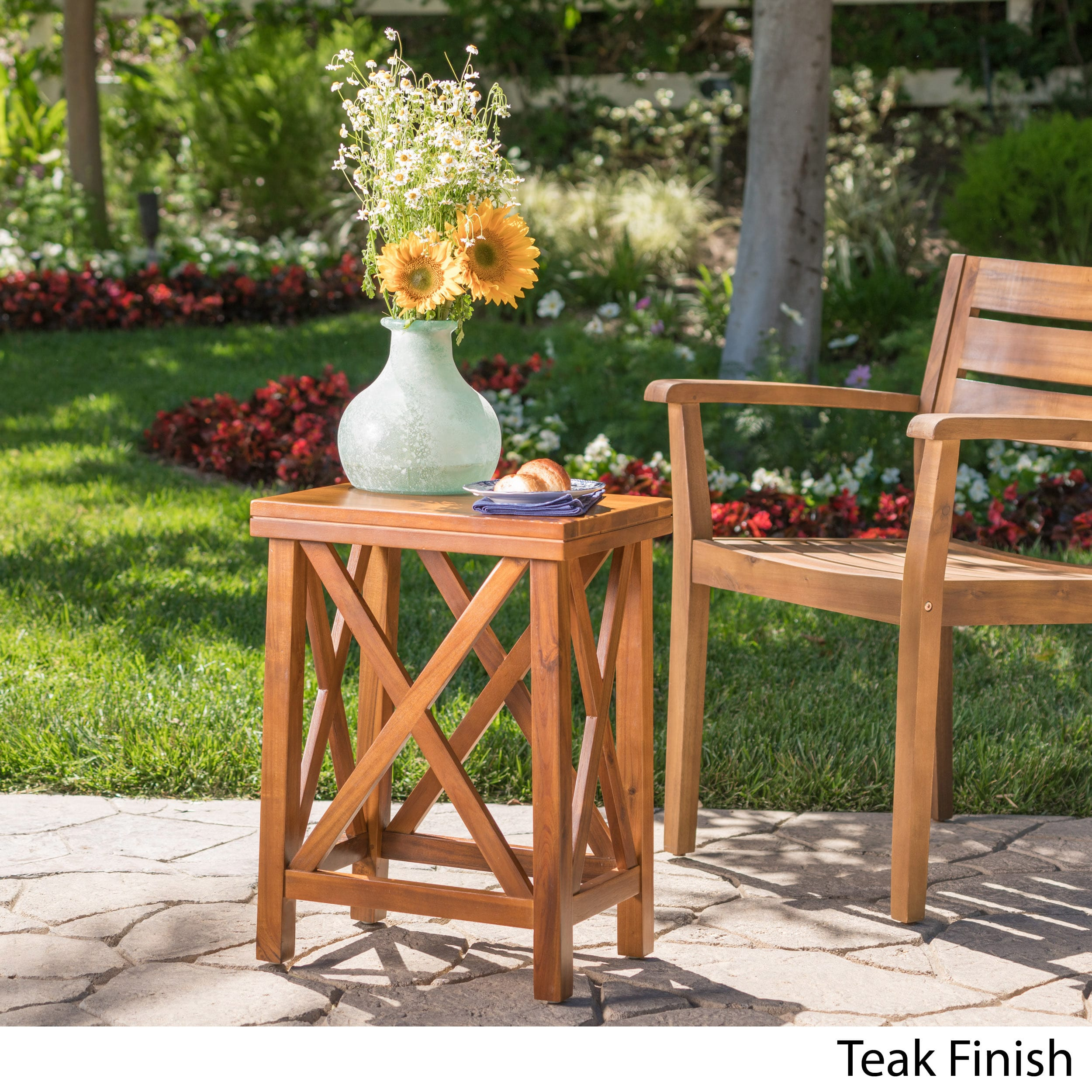 lily outdoor wood acacia accent table christopher knight home free shipping today mosaic garden side pier one clearance ikea small storage leather chairs with arms pie shaped end