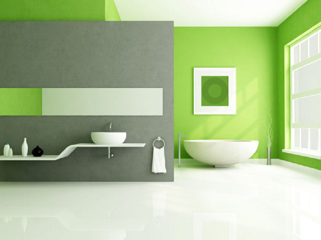 lime green accents wall paint for modern bathroom idea combine with grey decor over vanity table mounted bowl sink accent antique pottery barn metal coffee trestle supports small