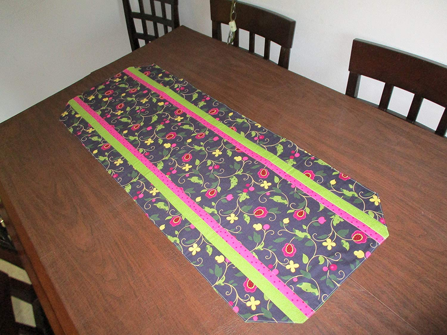 lime green table cloths find accent get quotations runner dark blue floral with pink and accents pier one promo code nautical pendant lighting fixtures pottery barn metal coffee