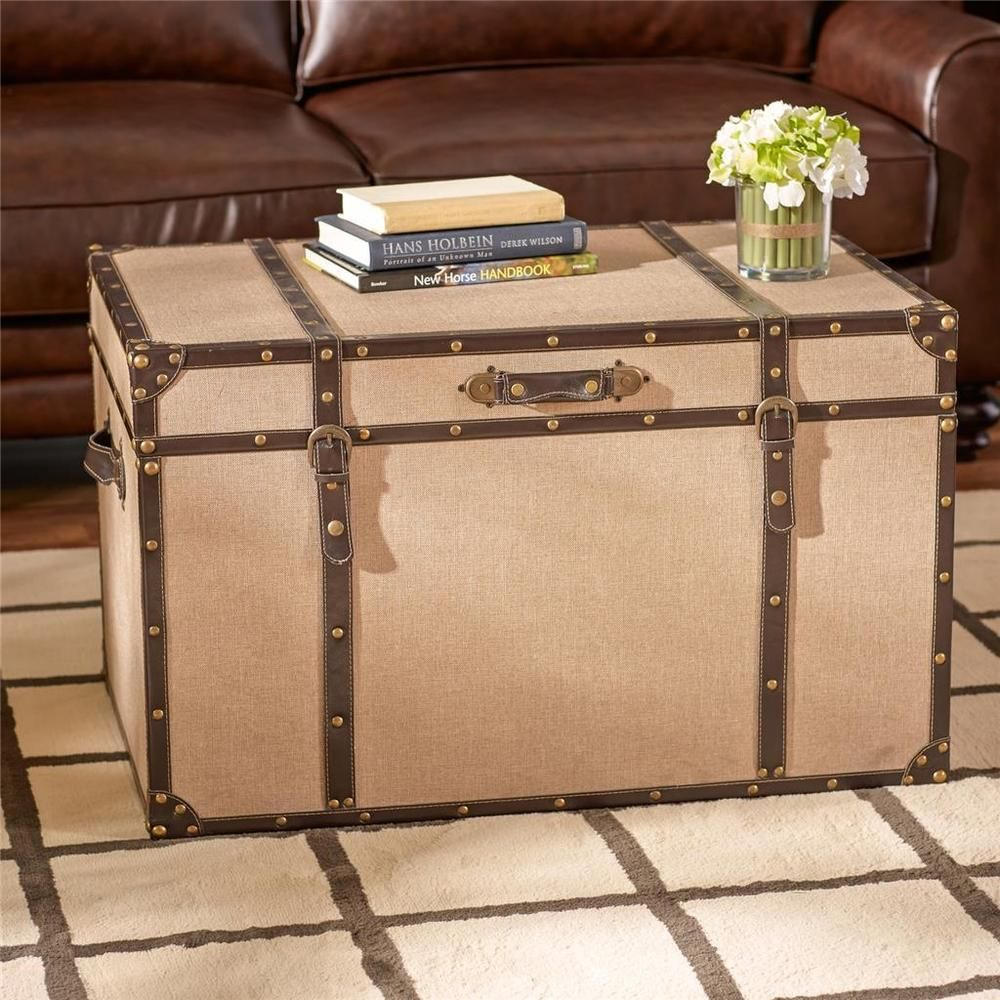 linen vintage traveler trunk style coffee table storage accent furniture black wood tall counter round tablecloth for bedside bathroom caddy inch nightstand metal frame with top