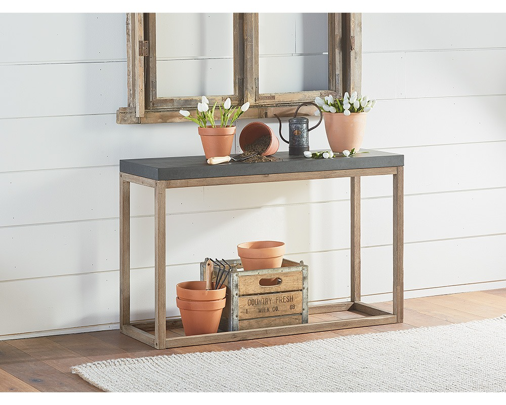 link console magnolia home ind cement shelf mini accent table streamlined and modest joanna has smooth sturdy top with open wooden frame base great low cabinet diy legs wood house