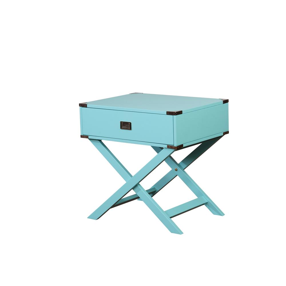 linon home decor sara base blue accent table the bright finish console tables teal counter height bar hammered metal coffee folding nic drum throne parts resin wicker furniture